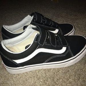 Vans Shoes | Womens Black Velcro Low